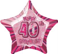 "Glitz 20"" Star Balloon Pink - Age 40"